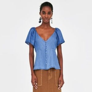 Zara Chambray Denim Flowing Top with Ruffles